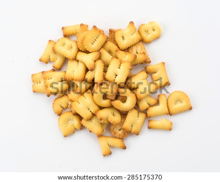 salted crackers or biscuit a b c shape - stock photo