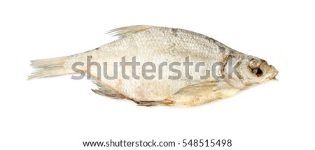 salted dried fish bream on a white background