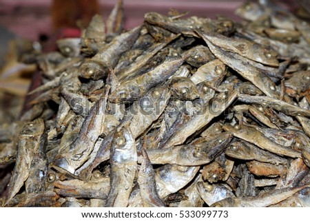Salted fish,Dried fish on the grill