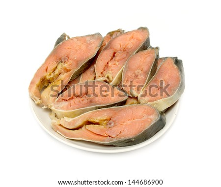 salted fish pink salmon slices in a dish on a white background - stock photo