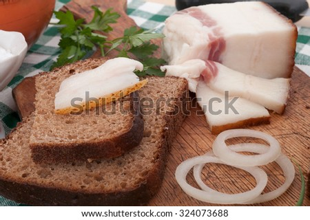 Salted lard  with bread - stock photo