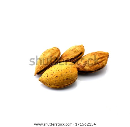 Salted nuts, almonds, white background - stock photo