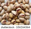 Salted pistachios macro. Shallow DOF! - stock photo