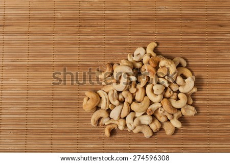 salted raw cashew nuts - stock photo