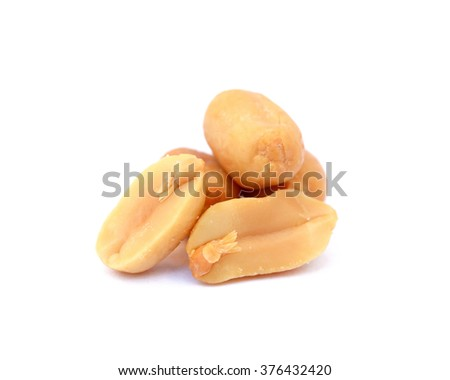 Salted roasted peanuts isolated on white background - stock photo