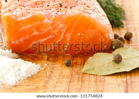 salted salmon with salt, pepper and spices