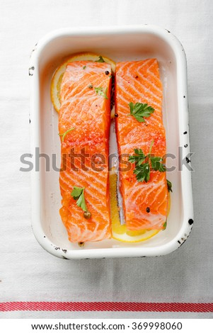 salted steak salmon with spice, food top view - stock photo