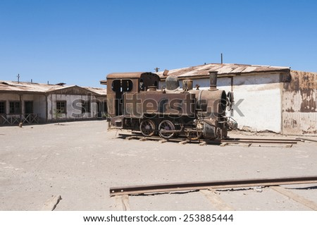Saltpeter works of Humberstone, deserted town in Chile - stock photo