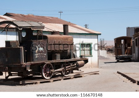 Saltpetre works of Humberstone, deserted town in Chile - stock photo
