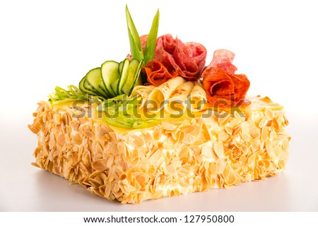 Salty cake bread decorated cheese salami pastry appetizer - stock photo