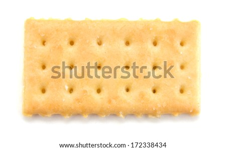 Salty cracker in square shape on white background  - stock photo