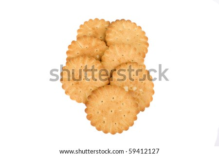 Salty crackers isolated on white background