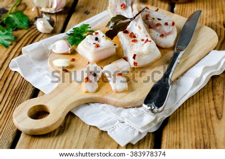 Salty lard with spices - stock photo