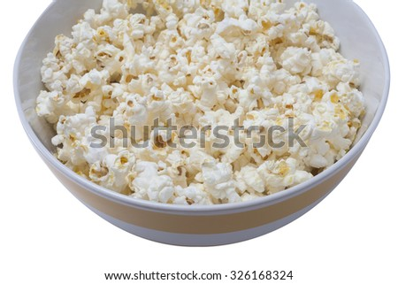 salty popcorn in the big bowl ready to eat when looking the cinema at a family house - stock photo