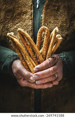 salty snack baked, typical Italian  - stock photo