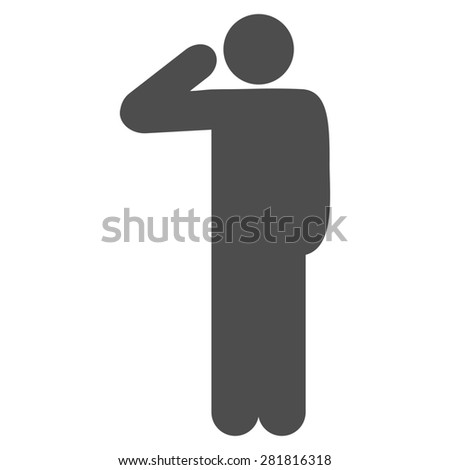 Salute icon from Man Poses Set. Style: monochrome gray icons, rounded corners, white background. - stock photo
