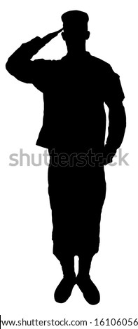 Saluting army soldier's  silhouette isolated on white (Memorial day, Veteran's day, 4th of july, Independence day) - stock photo