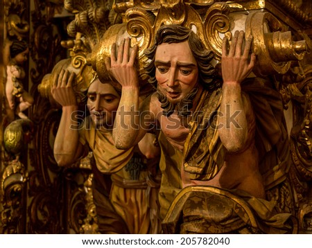 Salvador, Bahia, Brazil - July 9, 2014: Detail of the 17th Century Sao Francisco Church in Salvador da Bahia, Brazil, one of the finest examples of Baroque architecture and gilt woodwork in the world. - stock photo