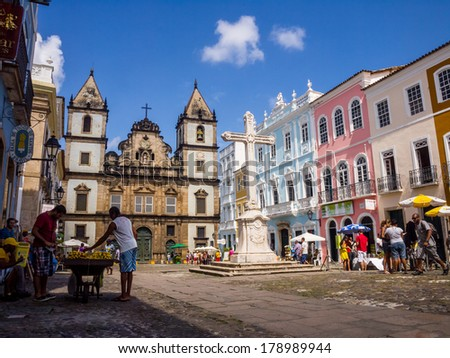SALVADOR, BRAZIL - AUGUST 01, 2012: Horizontal photo of Sao Francisco church in the historical center of Salvador. Sao Francisco church is one of the most recognizable buildings of Bahia Region. - stock photo
