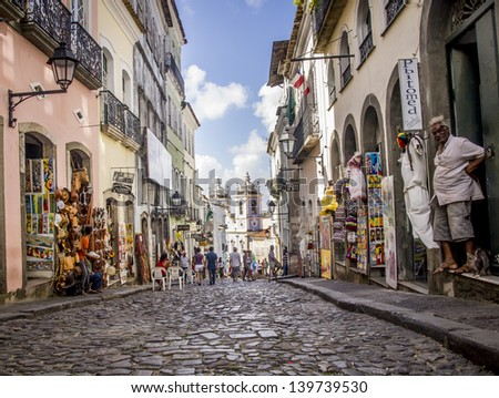 SALVADOR, BRAZIL - JULY 30: Horizontal image of Rua das Portas do Carmo in the historical center of Salvador, the capital of Bahia region in Brazil on July 30, 2012. Wide angle. - stock photo
