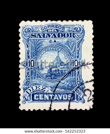 SALVADOR, CIRCA 1891 - The old post stamp of Salvador with multiple landscapes circa 1891 in Salvador