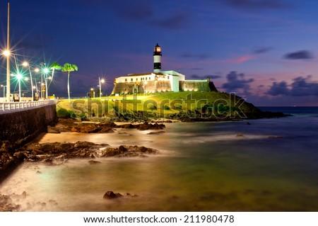 Salvador da Bahia, Brazil - August 19, 2014, Lighthouse, historic building in Barra Beach, Salvador, Bahia, Brazil.  - stock photo