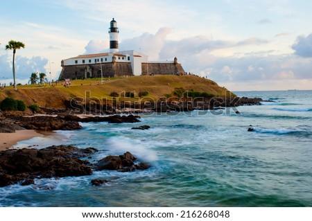 Salvador da Bahia, Brazil - August 19, Lighthouse, historic building in Barra Beach, Salvador, Bahia, Brazil.  - stock photo