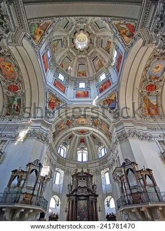 SALZBURG, AUSTRIA - AUGUST 07: Inside Salzburg Cathedral, interior details of architecture on August 07, 2008 in Salzburg, Austria.