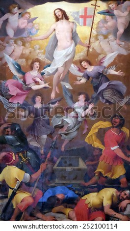 SALZBURG, AUSTRIA - DECEMBER 13: The altar of the Resurrection of Christ, Salzburg Cathedral on December 13, 2014 in Salzburg, Austria. - stock photo