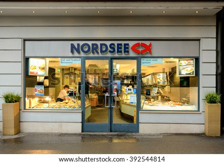 SALZBURG, AUSTRIA - FEBRUARY 10, 2016: A branch of the Nordsee fish restuarant in Salzburg, Austria.