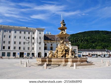 SALZBURG,AUSTRIA - JULY 16 ,2014. Historical center of the famous Unesco heritage city of Salzburg, city where Mozart was born.  - stock photo