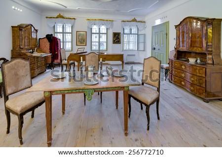 SALZBURG, AUSTRIA - JULY 30, 2014: Mozart's birthplace interiors (Mozarts Geburtshaus) in Salzburg, Austria - stock photo