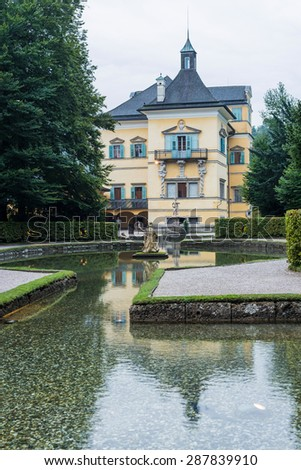 SALZBURG, AUSTRIA - JULY 31, 2014: The Hellbrunn Palace is an early Baroque villa of palatial size, near Morzg, a southern district of the city of Salzburg, Austria.