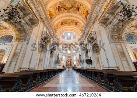 SALZBURG, AUSTRIA - JULY 31, 2014: The Salzburg Cathedral (Salzburger Dom) is a 17th century baroque cathedral dedicated to Saint Rupert in Salzburg, Austria