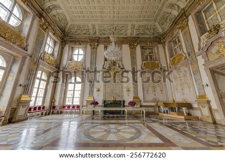 SALZBURG, AUSTRIA - JULY 30, 2014: The Salzburg Residenz palace is located at Domplatz and Residenzplatz and was home for centuries of the Archbishops of Salzburg.