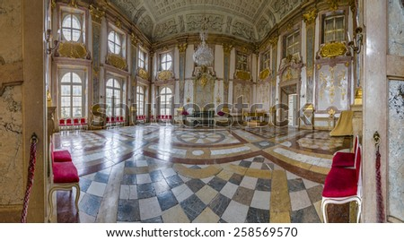 SALZBURG, AUSTRIA - JULY 30, 2014: The Salzburg Residenz palace is located at Domplatz and Residenzplatz and was home for centuries of the Archbishops of Salzburg. - stock photo