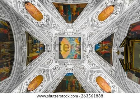 SALZBURG, AUSTRIA - JULY 31, 2014: The Salzburg Residenz palace is located at Domplatz and Residenzplatz and was home for centuries of the Archbishops of Salzburg. - stock photo