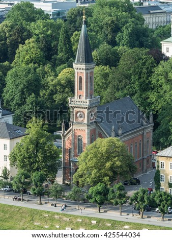 SALZBURG, AUSTRIA, JUNE 27: View of the outside of the Church of Christ in Salzburg, 2015 - stock photo