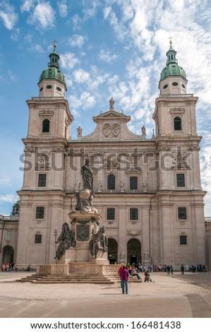 SALZBURG, AUSTRIA - SEPTEMBER 7,2010 - Cathedral of Salzburg.Salzburg has internationally renowned baroque architecture.Salzburg was the birthplace of 18th-century composer Wolfgang Amadeus Mozart.  - stock photo