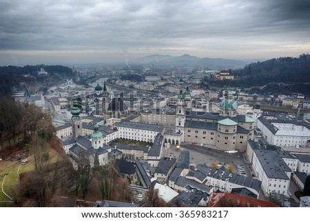Salzburg castle view landscape panorama in winter cloudy day