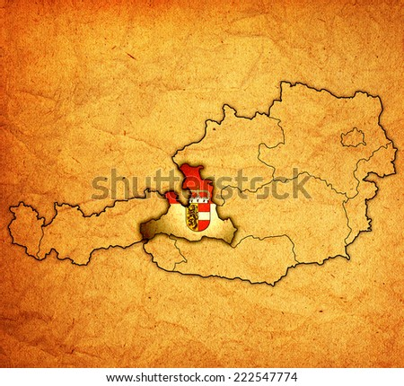 salzburg flag on map of austria with administrative divisions