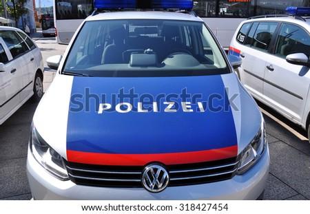 SALZBURG - SEPT 11: Police cars in Salzburg on September 11. 2015 in Austria - stock photo