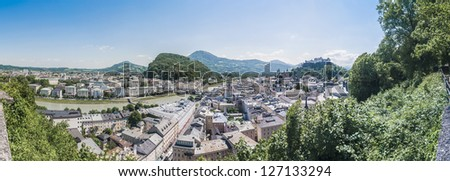 Salzburg skyline as seen from the M���¶nchsberg viewpoint, Austria