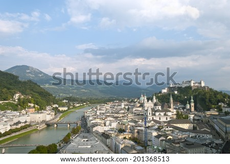 Salzburg, the fourth-largest city in Austria and the river Salzach