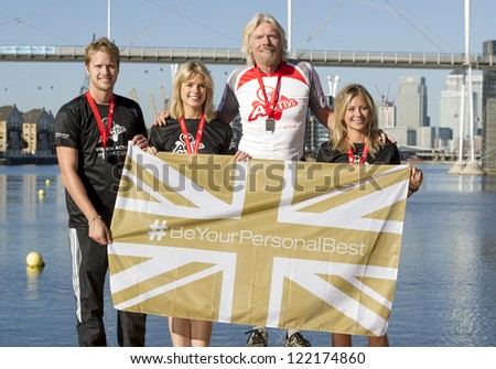 Sam Branson, Isabella Calthorpe, Sir Richard Branson and Holly Branson at the photocall of the Virgin Active London Triathlon at ExCel in London, England 22nd Sept 2012 - stock photo