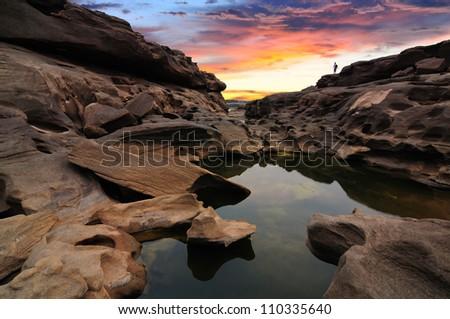 Sam-Pan-Bok Grand Canyon, Ubon Ratchathani, Thailand - stock photo