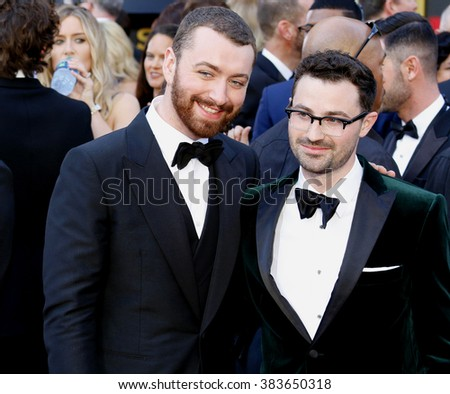 Sam Smith and Jimmy Napes at the 88th Annual Academy Awards held at the Hollywood & Highland Center in Hollywood, USA on February 28, 2016. - stock photo