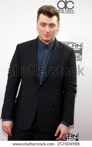 Sam Smith at the 2014 American Music Awards held at the Nokia Theatre L.A. Live in Los Angeles on November 23, 2014 in Los Angeles, California.  - stock photo