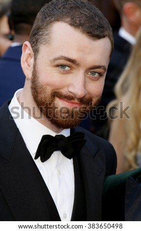 Sam Smith at the 88th Annual Academy Awards held at the Hollywood & Highland Center in Hollywood, USA on February 28, 2016. - stock photo