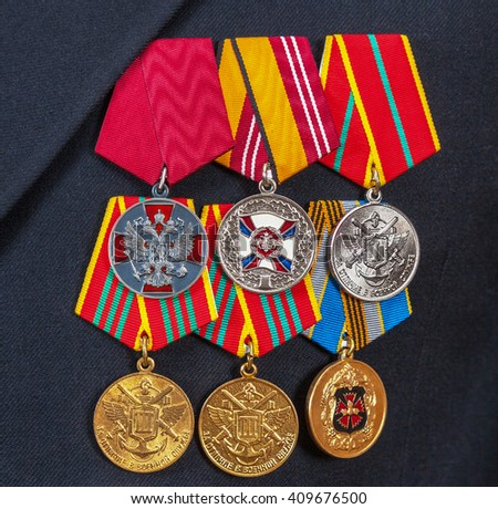 SAMARA, RUSSIA - APRIL 20, 2016: Awards and different medals on the russian navy uniform - stock photo